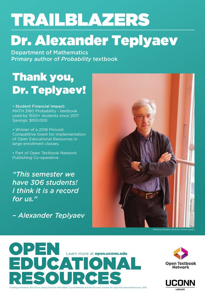 Open Education Week 2019 Poster, Alexander Teplyaev. New OER textbook for Math 3160, Probability
