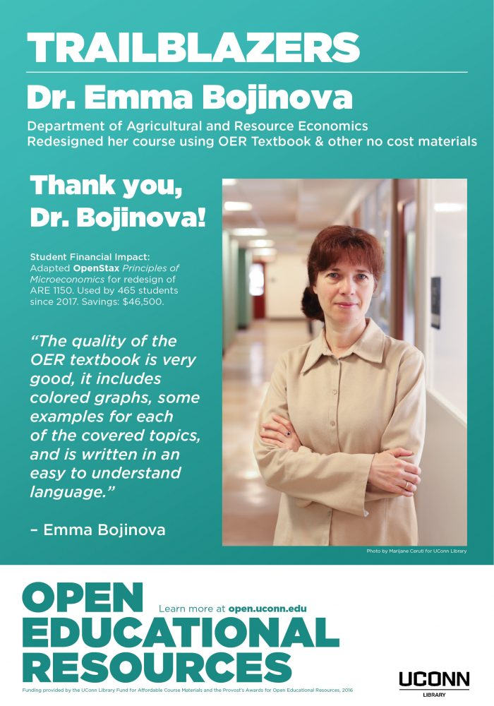 Open Education Week 2019 Poster, Emma Bojinova, Agricultural and Resource Economics course redesign
