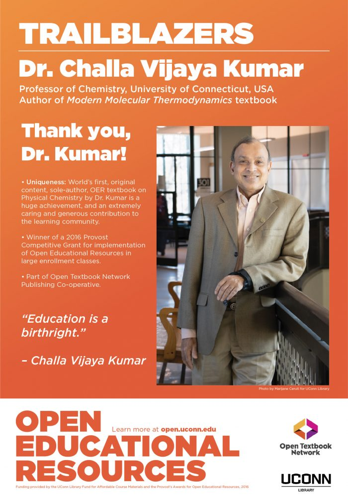 Open Education Week 2019 Poster, Challa Kumar, Physical Chemistry OER textbook creator.